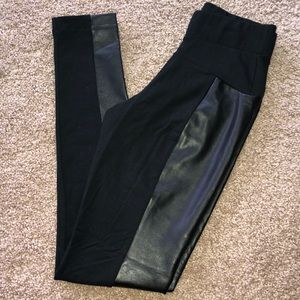 Faux leather/cotton leggings
